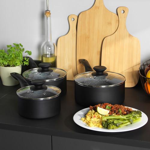 Progress® Go Healthy 3 Piece Marble Saucepan Set 16/18/20cm