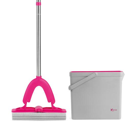 Kleeneze® PVA Floor Mop And Bucket Set, 37 x 12.5 x 31.5cm | Pink/Grey