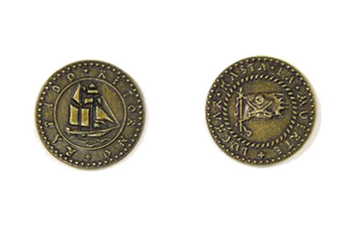 Pirate Ships Themed Gaming Coins - Medium 25mm (12-Pack)