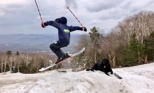 Dylan Aker Freeskier with dog