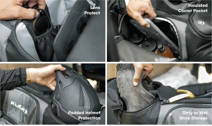 Pockets Helmet Shoes Lens Protect Cycle Gear Bag OTRmnost