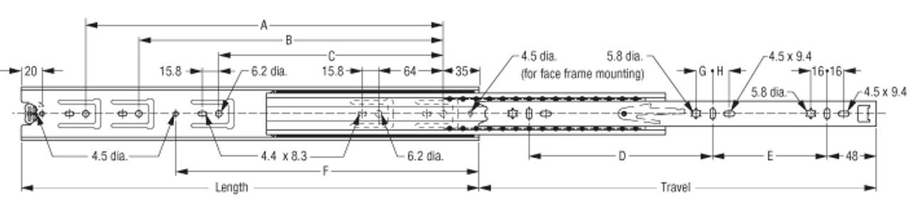 Fulterer Heavy-Duty Full-Extension Ballbearing Slide, 200 lb Capacity FR5210