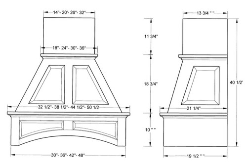 """NWA Signature 48"""" Double Arched Panel Hood, Maple NWA-DWHRP02-48M"""