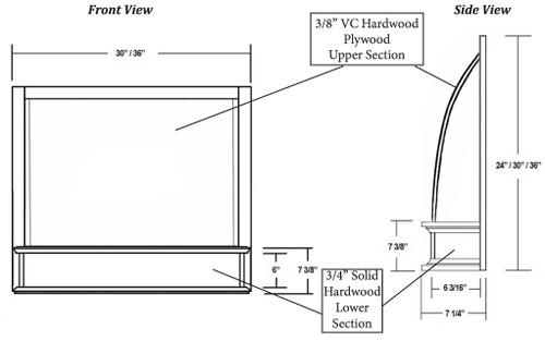 "Castlewood 36"" x 24"" Convex Range Hood Front, SY-JCVHF3624"