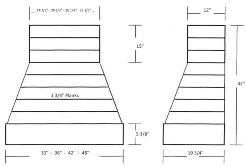 "NWA Signature 42"" Rustic Hickory Shiplap Chimney Range Hood, NWA-DWHRSL01-42"