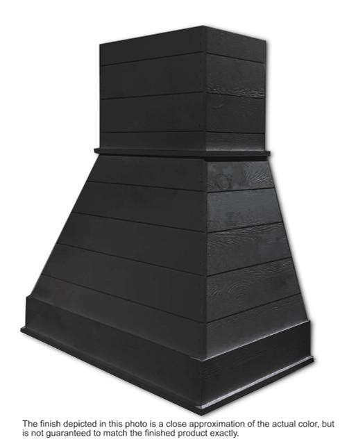 "Castlewood 42"" Rustic Shiplap Chimney Range Hood, Black SY-WCSLR-42-BK"