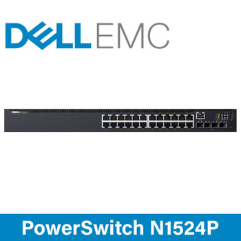 DELL EMC PowerSwitch N1524P - 24x 1GbE RJ45 PoE Ports - 4x 10GbE SFP+ Ports Network Switch