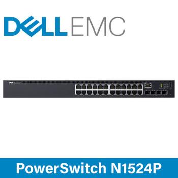 DELL EMC PowerSwitch N1524P - 24x 1GbE RJ45 PoE Ports - 4x 10GbE SFP+ Ports Network Switch