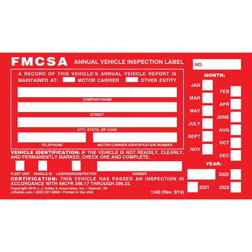 Annual Vehicle Inspection Label - Aluminum