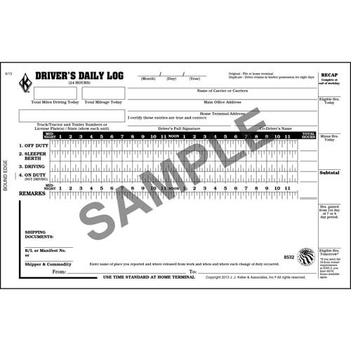 Driver's Daily Log Book w/Detailed DVIR, 2-Ply, w/Carbon, w/Simplified Recap - Stock
