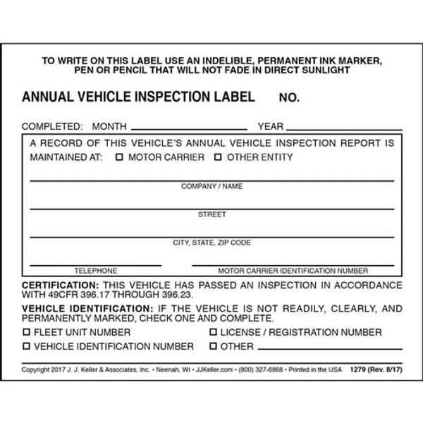 Annual Vehicle Inspection Label - Vinyl w/ Mylar Laminate