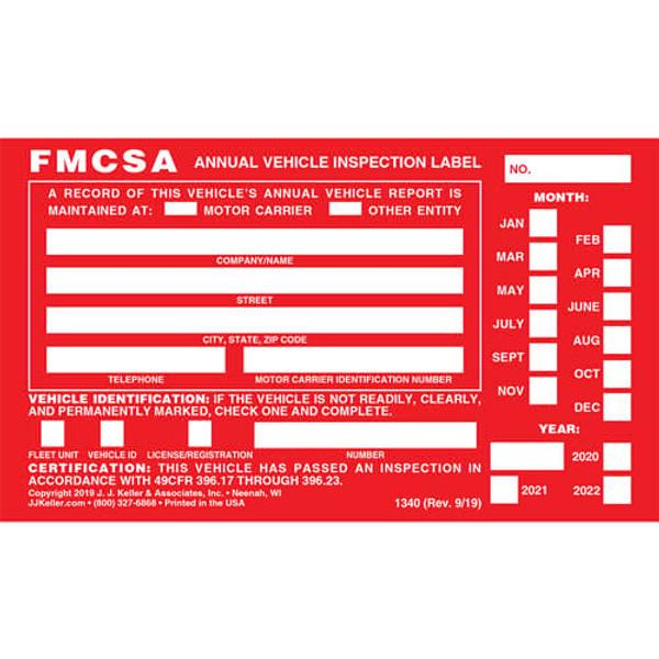 Annual Vehicle Inspection Label - Aluminum