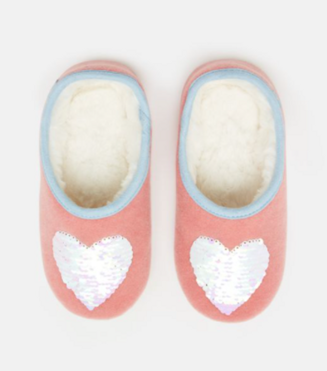 Joules Pink Heart Slippers