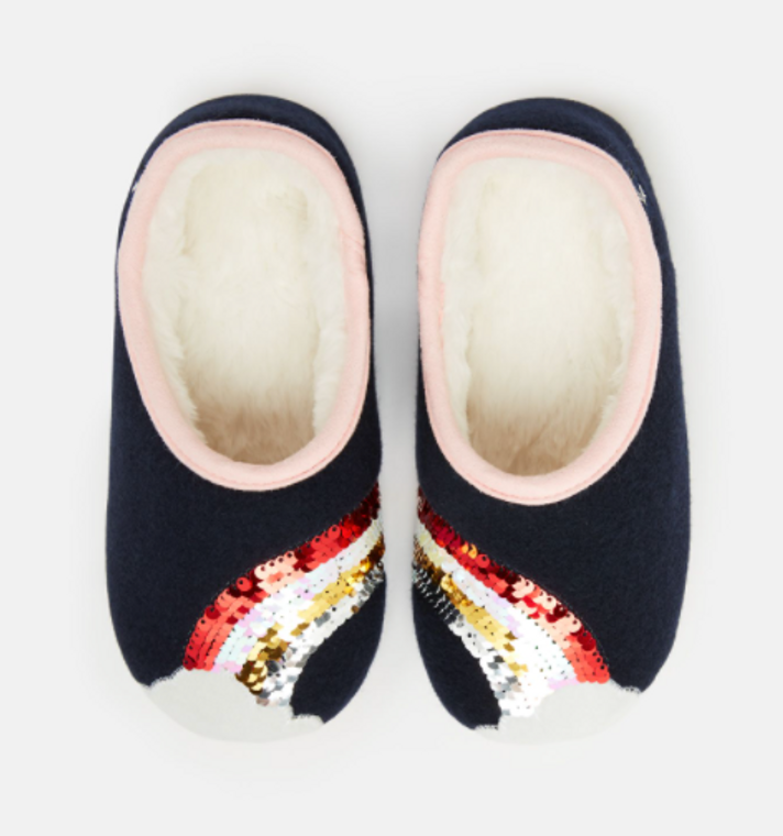 Joules Navy Rainbow Slippers