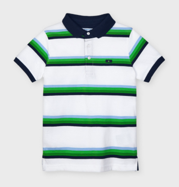 Mayoral Boys Green And Blue Stripes Polo
