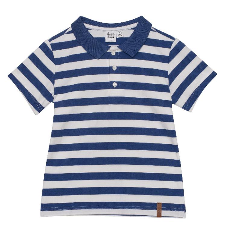 Deux Par Deux Denim Blue Stripe Polo
