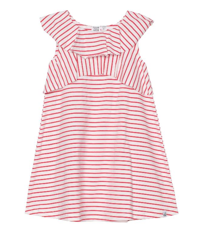 Deux Par Deux Stripe Ruffle Dress