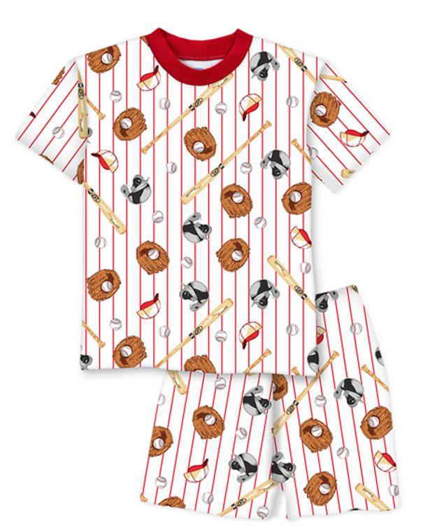 Sara's Prints Short PJ Baseball Stripe
