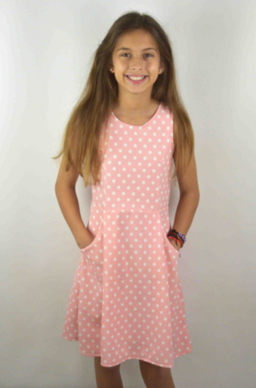 Area Code Peach  Ivory Dot Dress