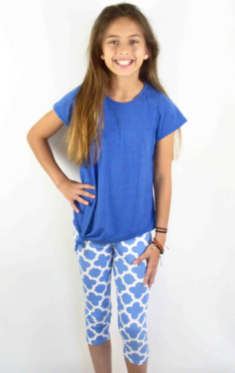 Area Code  Solid Periwinkle Blue Knot Top