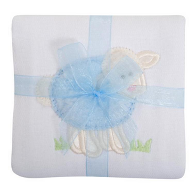 3 Marthas Blue Lamb Burp Cloth