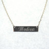 Sterling Silver Engraved Bar Necklace