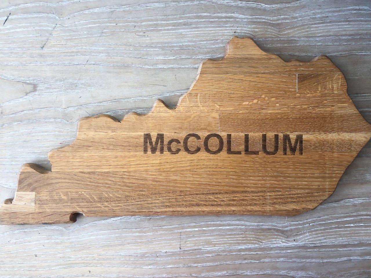 Kentucky Shape with Script Wooden Cheese Board