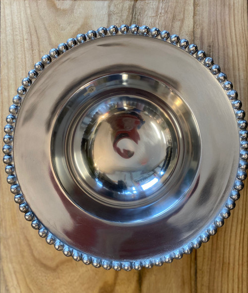 Round Beaded Silver Serving Bowl