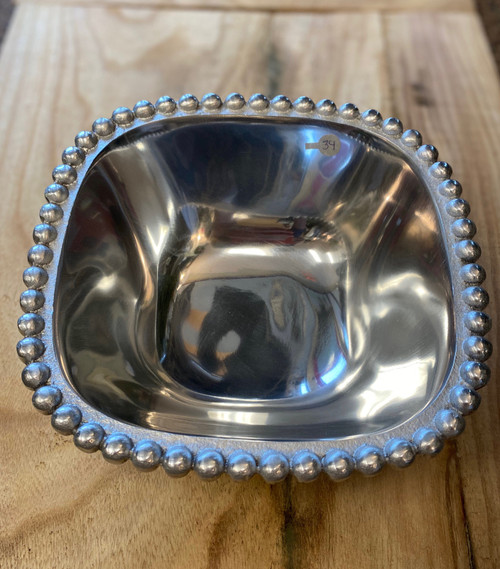 Square Beaded Silver Serving Dish