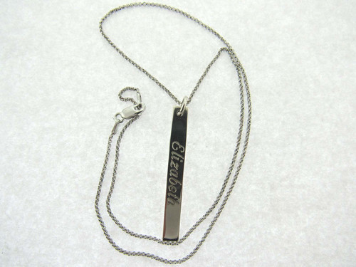 Sterling Silver Engraved Long Bar Necklace