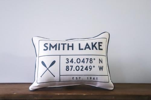 Lake Grid Coordinates Pillow