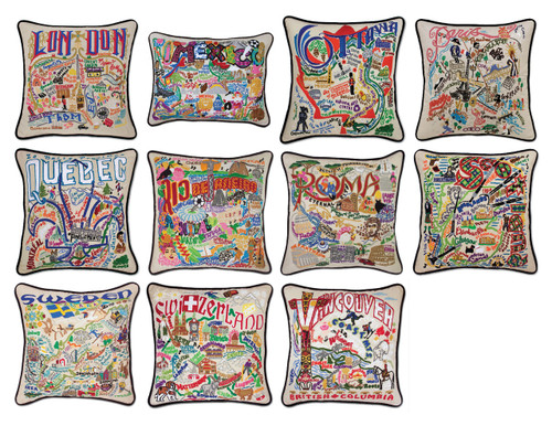 International Places Embroidered Pillows