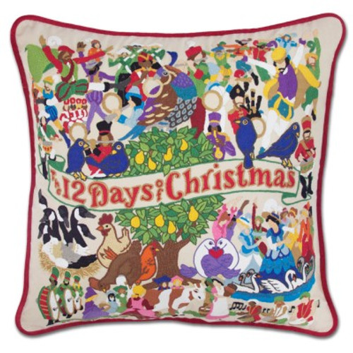 12 Days of Christmas Hand Embroidered Pillow