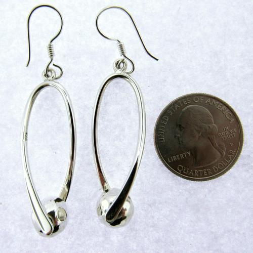 Sterling Silver Long Hammered Fishhook Earrin