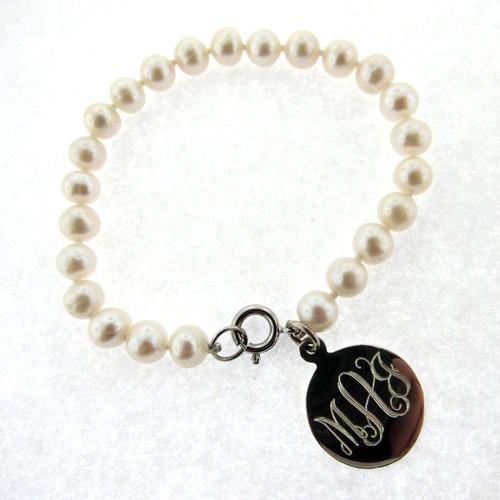 Engrave 6mm dish pearl bracelet
