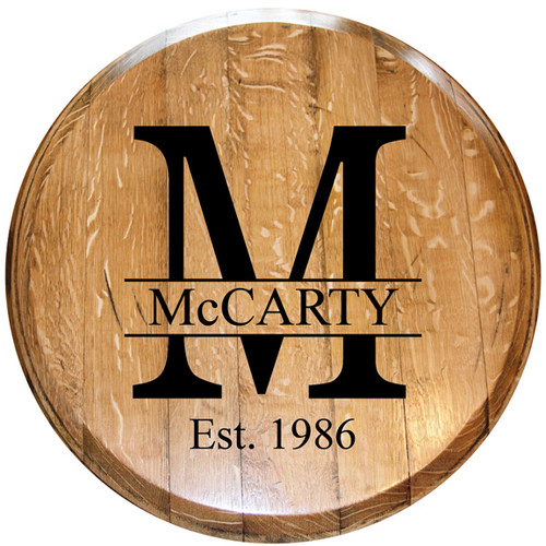 Monogrammed Barrel Head w/ Year Last Name