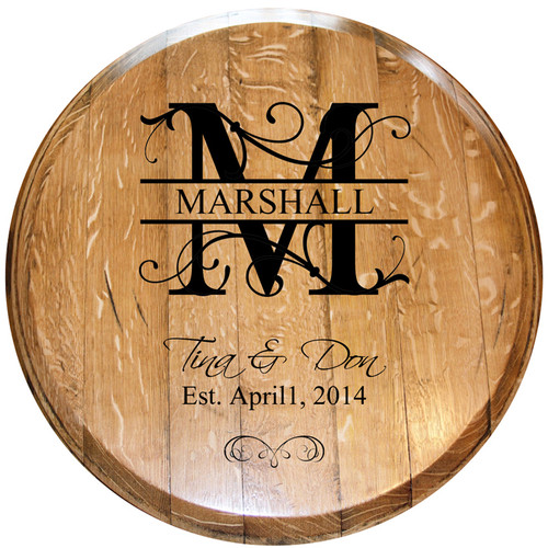 Monogrammed Barrel Head w/ Year Last Name Style 3