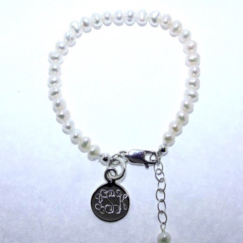 Pearl Baby Bracelet W/ Engraved Disc