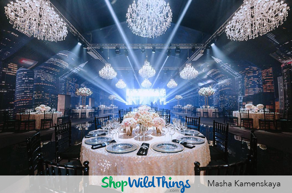 Aerial Awesomeness:  Chandeliers & Beaded Backdrops & Hanging Florals