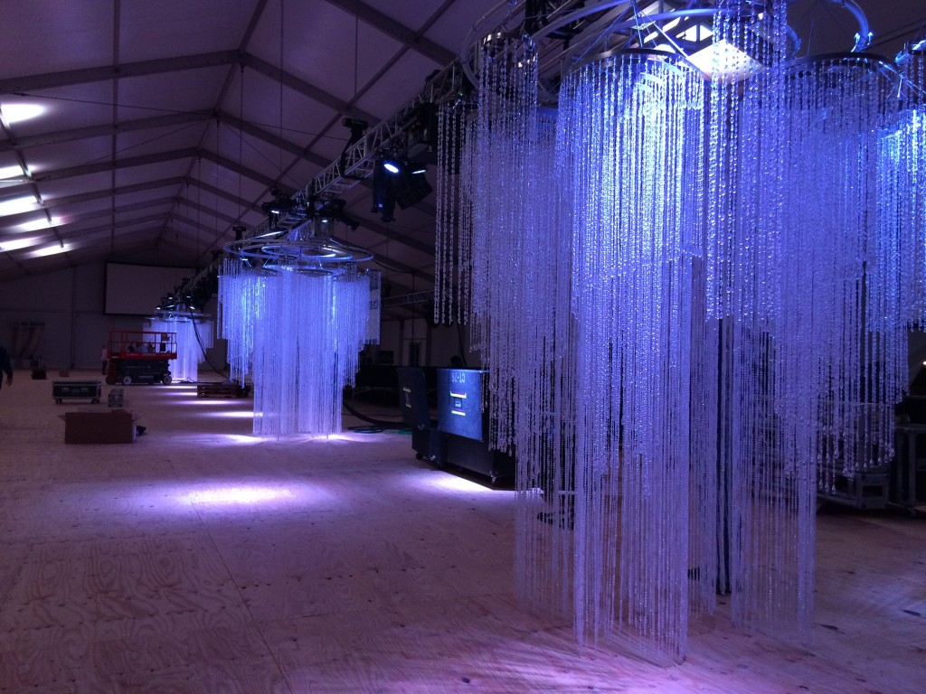 Composite Chandeliers & Bar Pod with Bead Curtain Walls:  We're in Love with Fauxcades
