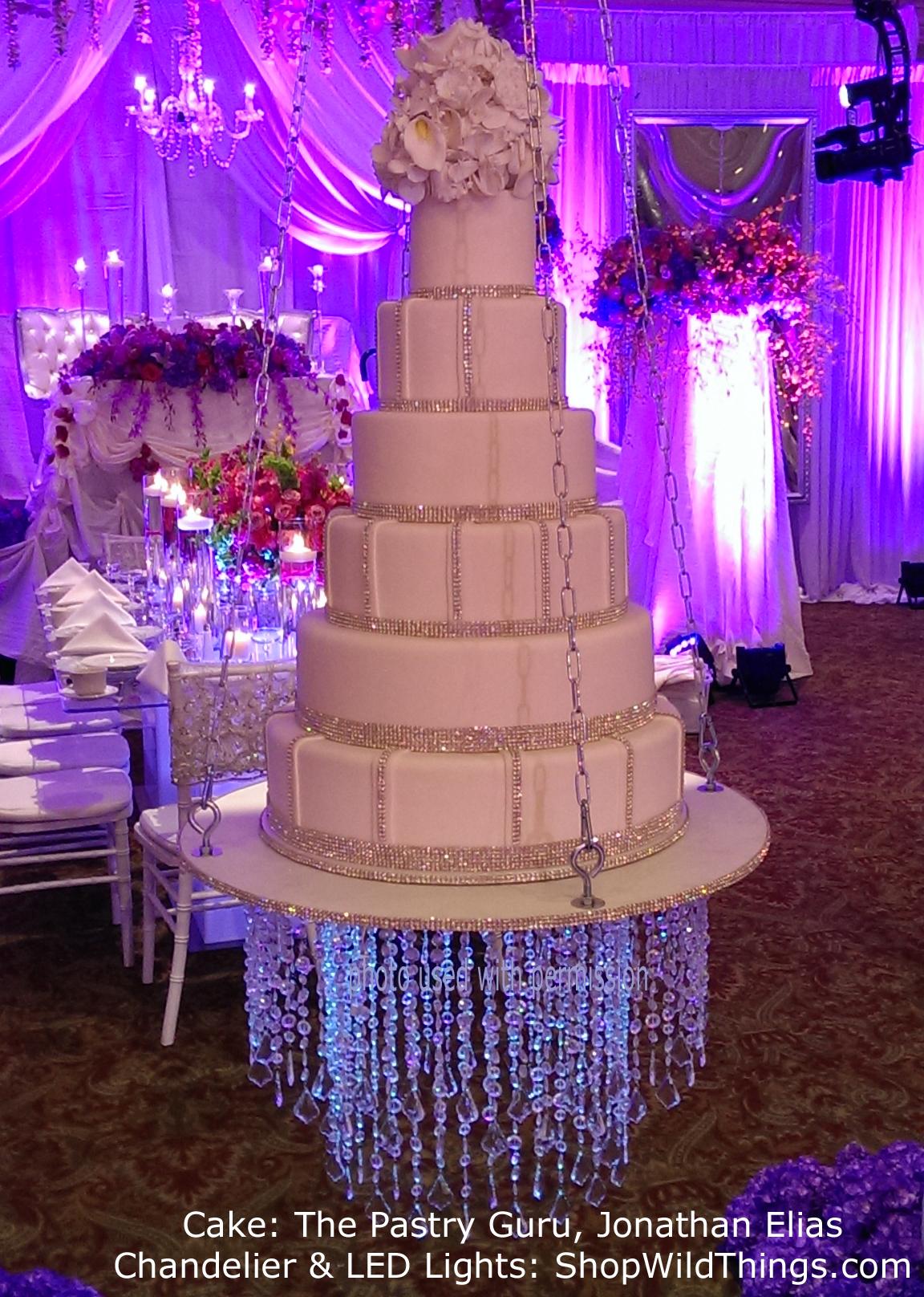 Hanging Wedding Cake - With Chandelier Underneath!