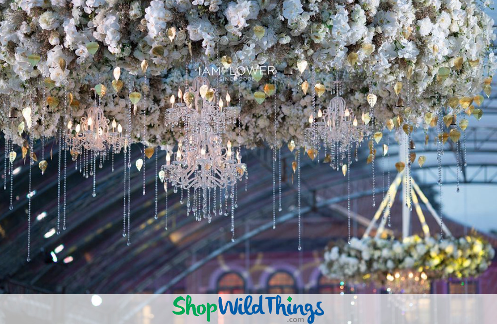 Outdoor Weddings Sparkle with Crystal Chandeliers as Focal Point Dcor