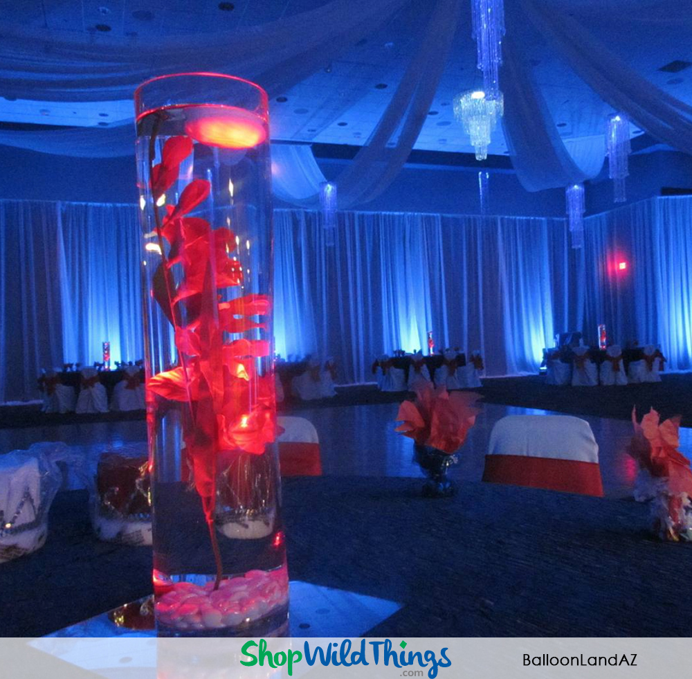 Prom Decoration Advice & Photos - Light Curtains, Chandeliers and Centerpiece Kits are Reusable Core Pieces for Lots of Prom Themes