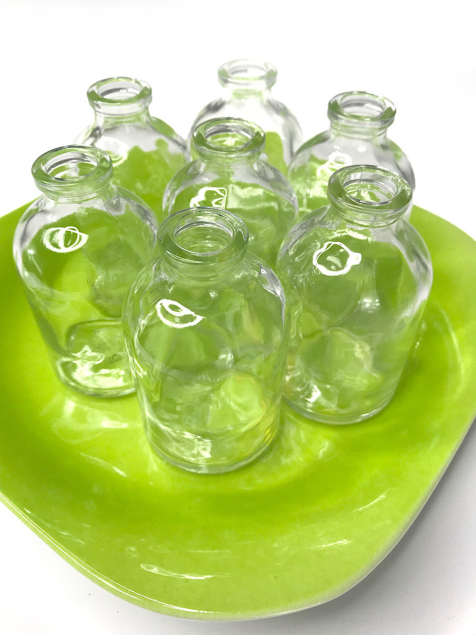 Clear Glass Bottles On Colorful Plates 4 Colors Available Cutest Things Ever Shopwildthings Com