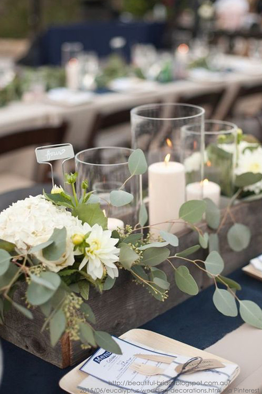 Image of: Wooden Centerpiece Rectangle Flower Box Wedding Decor