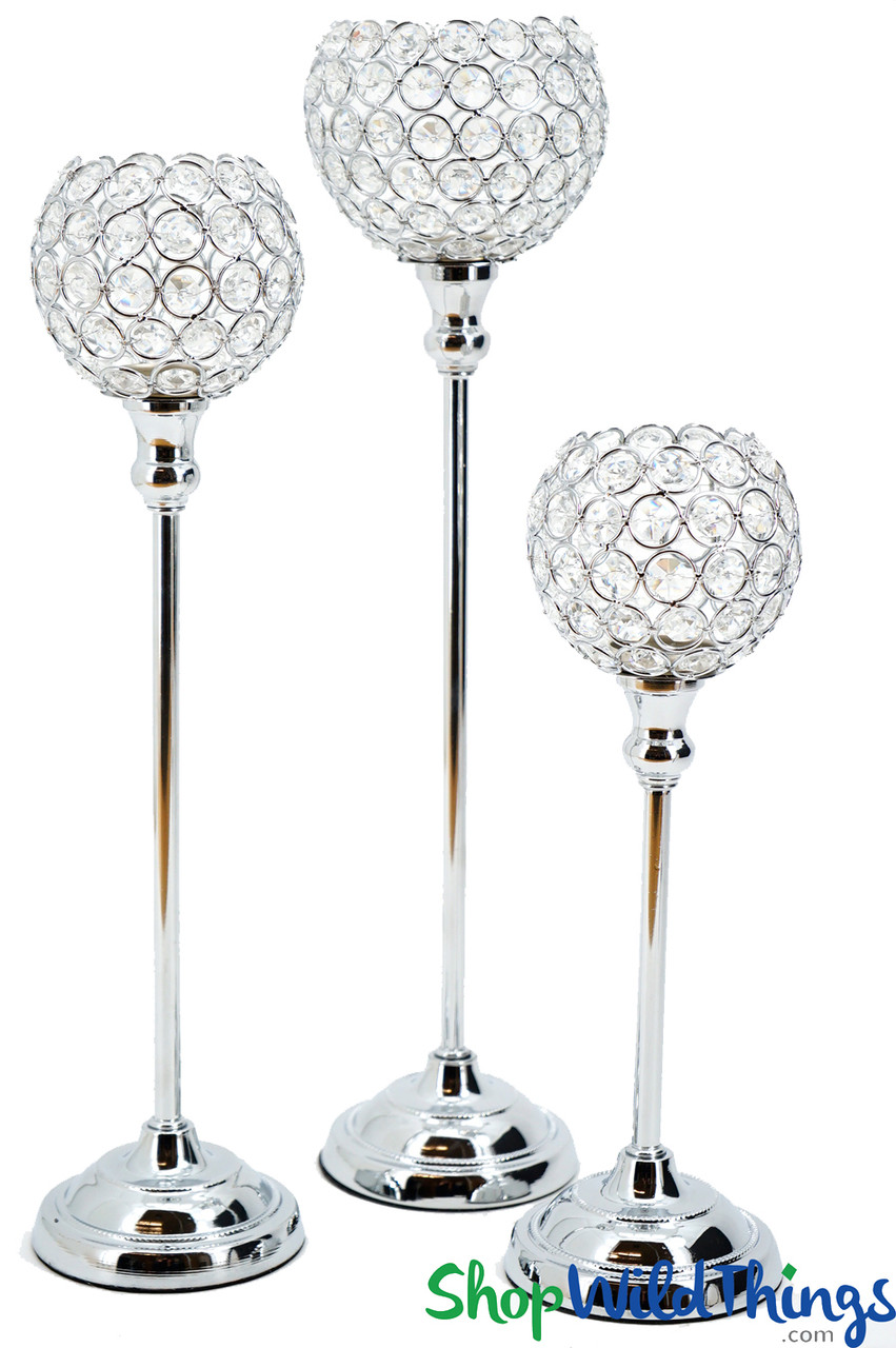 Silver & Real Crystal Beads Votive Tea Light Candle Holder ...