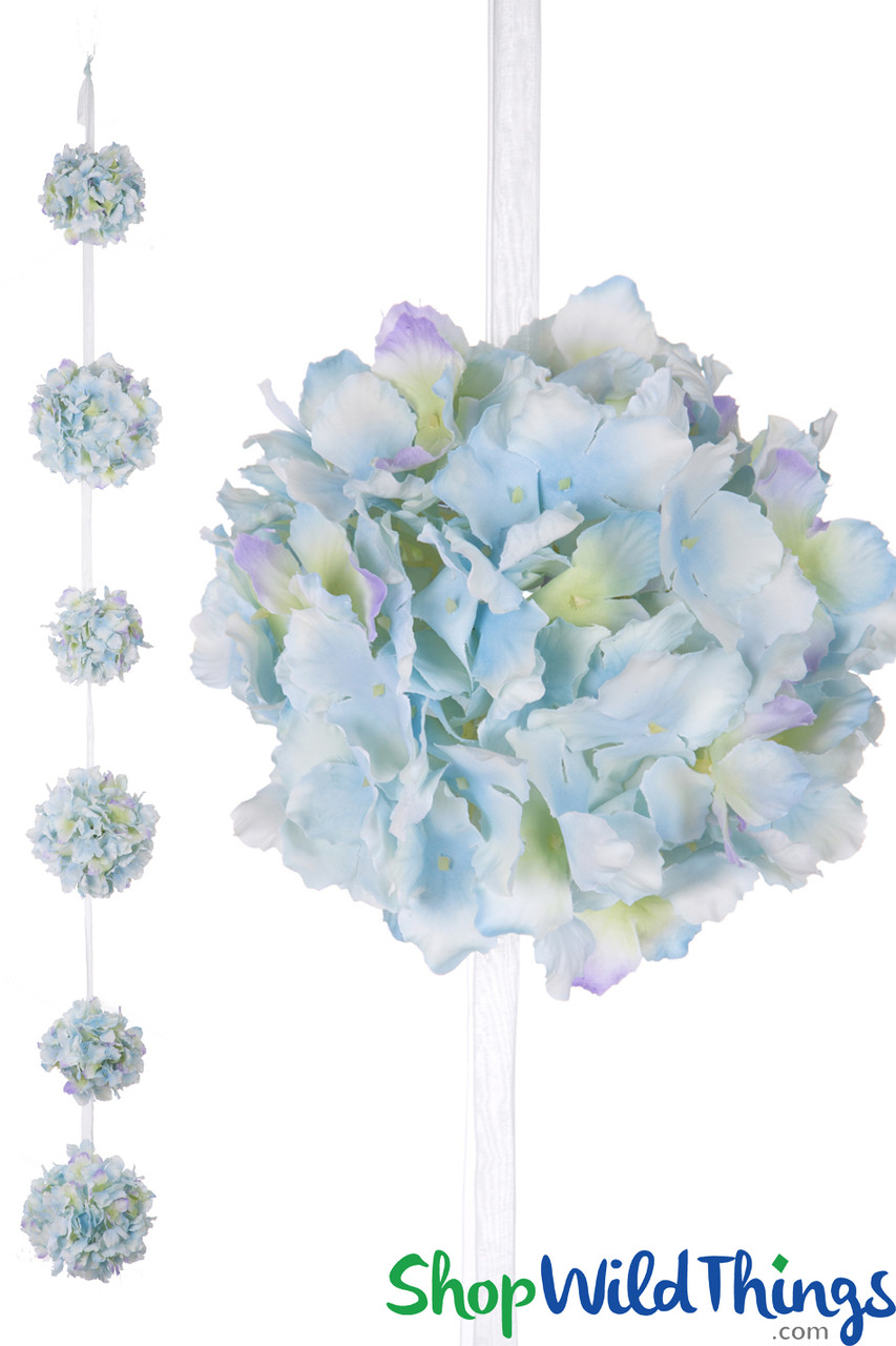 Ribbon Garland With Blue Flower Balls Hanging Wedding Flowers Shopwildthings Com