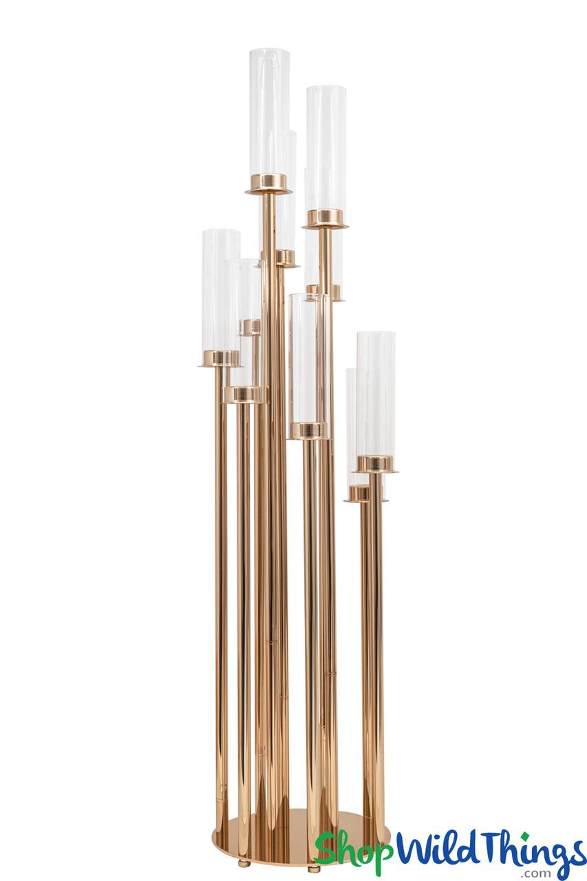 10 Arm Gold Cylinder Event Candelabra Shopwildthings Com