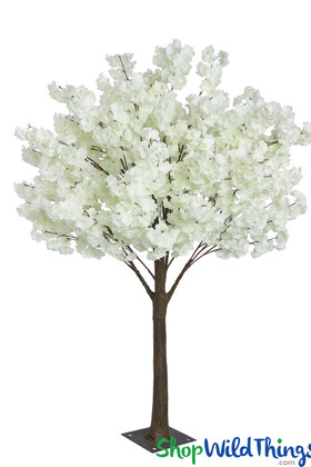 Cream Ivory Dogwood Flowering Artificial Fake Silk Lifesize Trees ShopWildThings.com