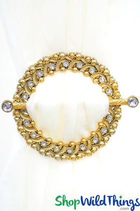 """Royalty Curtain & Fabric Tie-Back Brooches - 7"""" Set of 2 - Brass Jeweled Circles"""